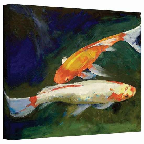 历史新低!Art Wall Michael Creese 24x32英寸风水锦鲤帆布装饰画1.3折 25.89元限时清仓并包邮!