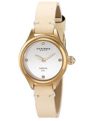 历史最低价上再打9折!Akribos XXIV AK750YG 女士钻石石英腕表3.1折 25.39元限时特卖并包邮!