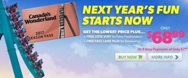 Canada's Wonderland 奇幻乐园 2017季票68.99元限时特卖,新用户送今年一日门票,续费送今年Fast Lane Plus!