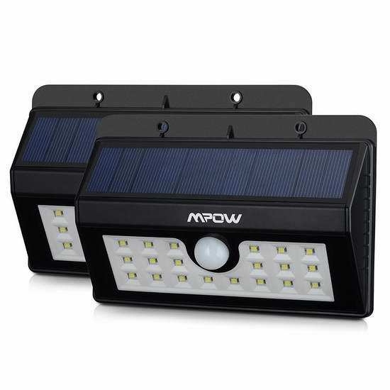 亮度超强!最新款Mpow 20 LED 太阳能防水运动感应灯2件套 47.99元限时特卖并包邮!