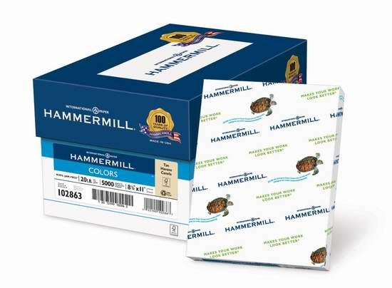 售价大降!历史新低!Hammermill Colors Tan 20磅8.5x11英寸10包(5000张)打印纸3折 20元限时清仓!