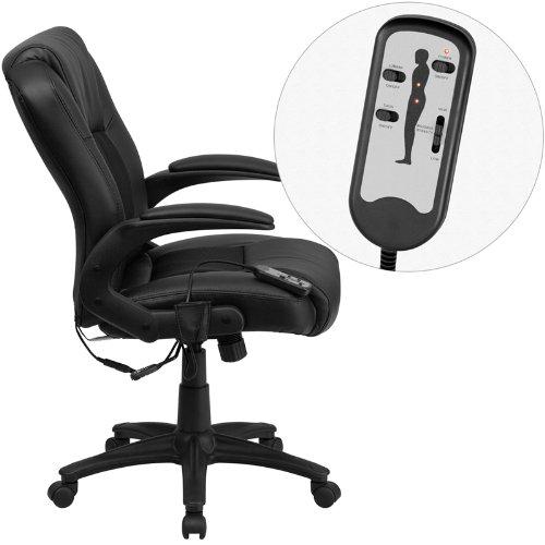 近史低价!Flash Furniture BT-2536P-1-GG 多功能真皮按摩旋转办公椅 120.4加元包邮!
