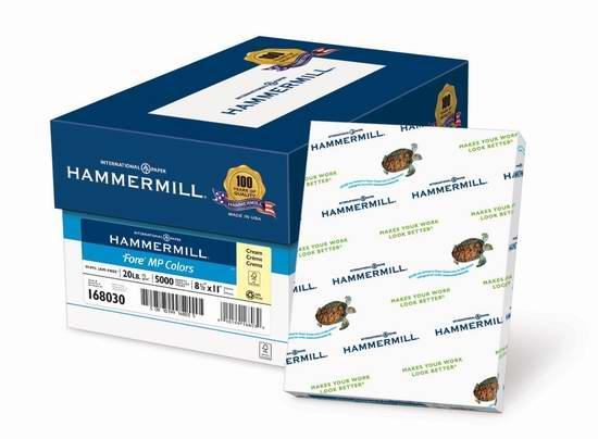 售价大降!历史新低!Hammermill Colors Cream 20磅8.5x11英寸10包(5000张)打印纸3.3折 22元限时清仓!