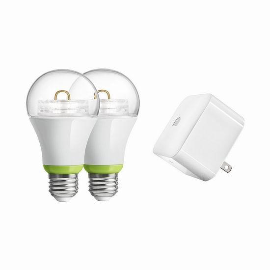 历史最低价!GE Link 无线智能遥控 A19 LED 灯泡两只+Hub套装4.7折 38.05元限时特卖并包邮!