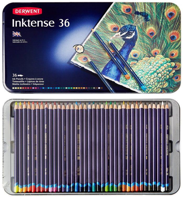 Derwent Inktense 得韵 (2301842) 4mm笔芯 36色水墨画水溶彩色铅笔 55.68元特卖,原价 111.99元,包邮