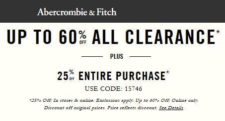 Abercrombie & Fitch清仓特卖,指定款4折起特卖,额外再享受7.5折优惠!