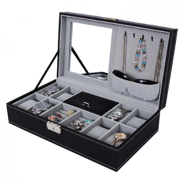Songmics 珠宝首饰收纳盒 带锁和镜子 25.49加元限量特卖!