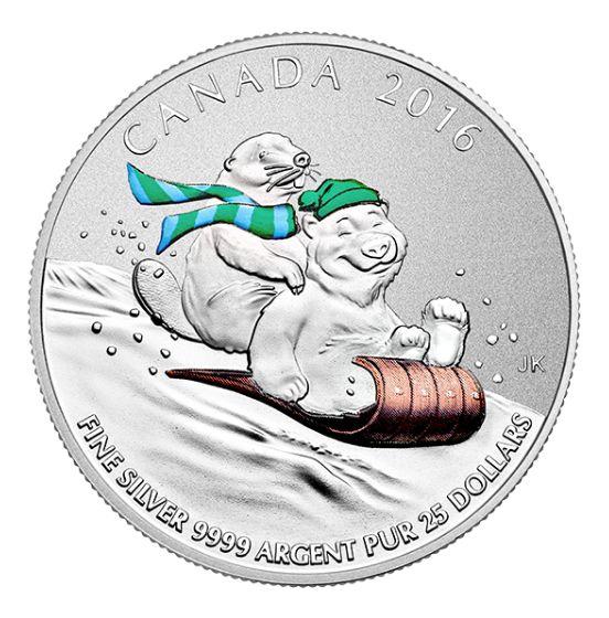 皇家铸币厂面值25元 冬季乐趣 彩色纪念币原价25元销售并包邮!