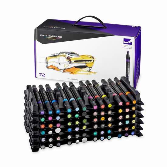 历史新低!PRISMACOLOR PREMIER 3722 顶级双头艺术72色双头麦克笔4.2折 157.46元限时特卖并包邮!