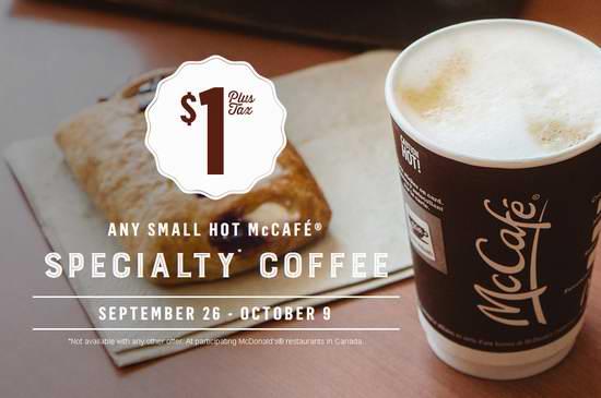 McDonald's 麦当劳 9月26日-10月9日小杯咖啡仅售1元!