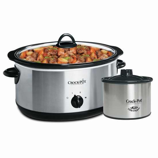 Crock-Pot 8夸脱不锈钢慢炖锅 + 16盎司食物加热锅 39.98加元包邮!