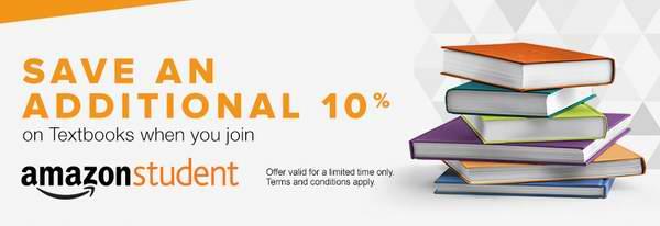 申请成为Amazon Prime学生会员,免半年服务费,订购书籍教材限时享受额外9折!