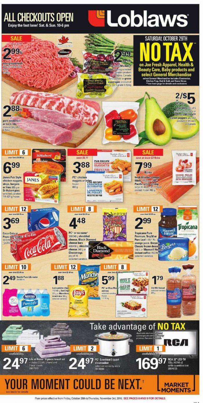 Loblaws超市本周(2016.10.28-2016.11.3)打折海报