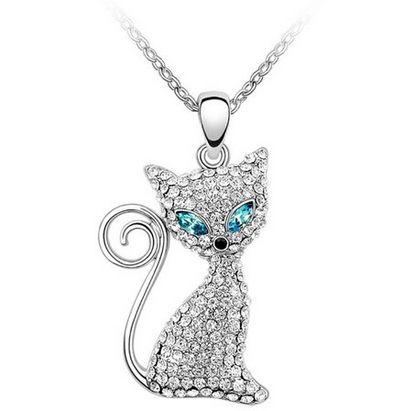 MARENJA 超萌水晶猫吊坠项链2折 8.49加元限量特卖!