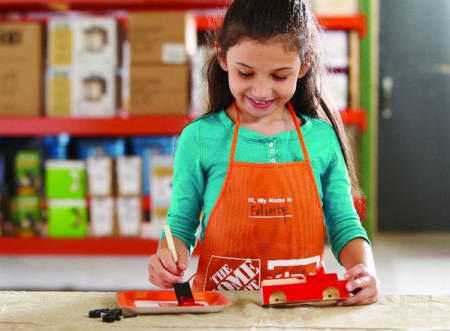 Home Depot 10月15日免费儿童手工课,制作救火车模型,10月另有3个家庭装修免费课程!