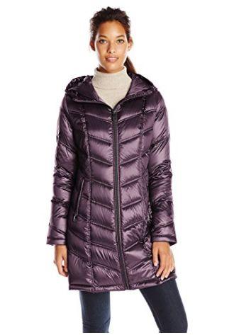 Calvin Klein Chevron 女式中长修身连帽羽绒服3.5折 116.99元限时清仓并包邮!两色可选!
