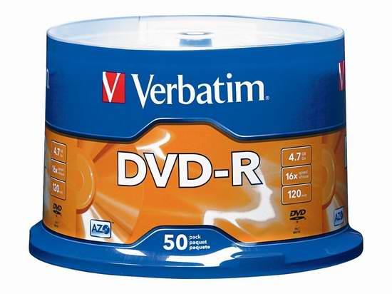 历史新低!Verbatim 4.7GB 16x DVD-R 可刻录光盘50件套3.8折 10.99元限时清仓!
