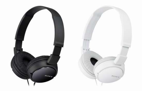 Sony MDRZX110 耳罩式立体声耳机5折 17.49加元!黑白两色可选!