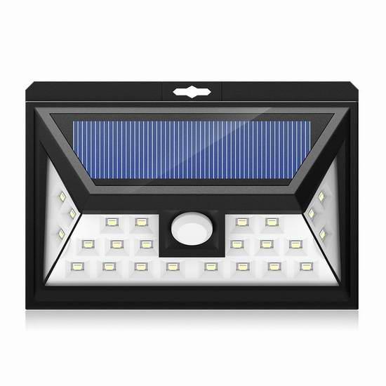 Mpow 24 LED 太阳能防水3模式120度广角超亮运动感应灯 21.24元限量特卖!