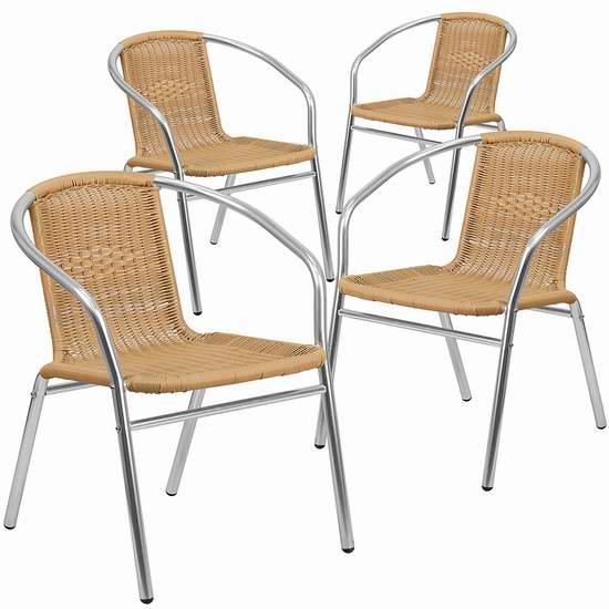 历史新低!Flash Furniture 4-TLH-020-BGE-GG 铝合金藤编椅4件套3.8折 172.29元限时特卖并包邮!