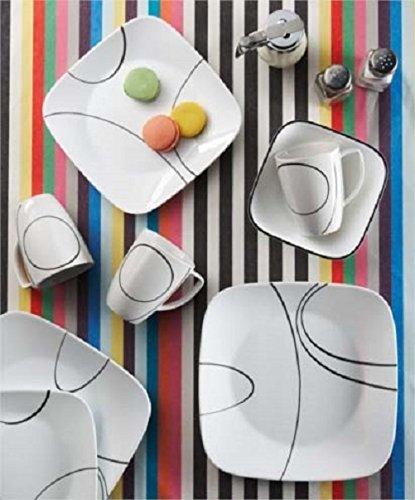 历史最低价!Corelle 康宁 Simple Lines 方形16件套餐具5.3折 49.96加元包邮!会员专享!