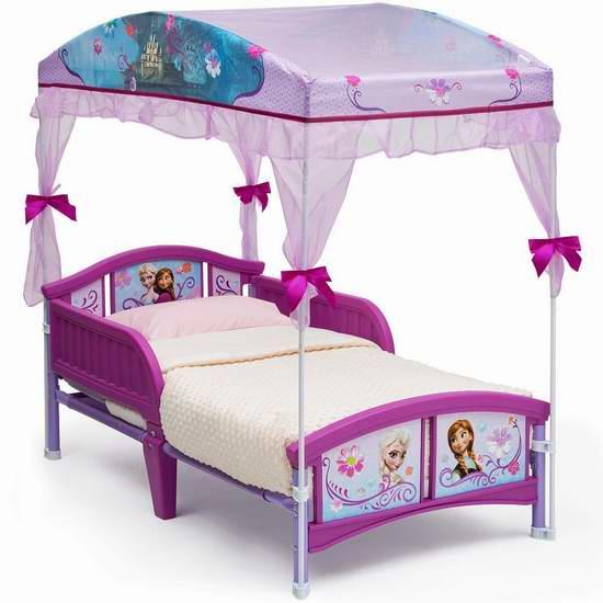 历史新低!Delta Children Toddler 冰雪奇缘主题 女童天棚床6.2折 74.97元限时特卖并包邮!
