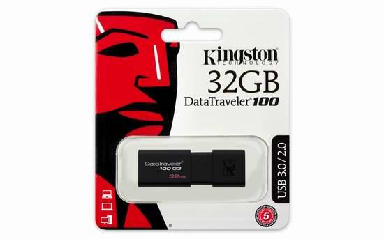历史新低!Kingston Digital 32GB 100 G3 USB 3.0 闪存盘/U盘 10.99元限时特卖!