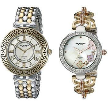 历史新低!Akribos XXIV AK886TT 女式钻石时尚腕表两件套礼盒装3.6折 51.88元限时特卖并包邮!