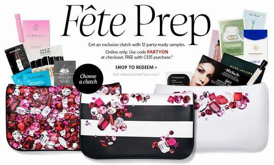 Sephora 购物满35元,送12件套美妆护肤样品+时尚手拿包!