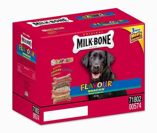 历史新低!Milkbone 87574 中号狗零食5公斤装3.2折 16.49元限时清仓!