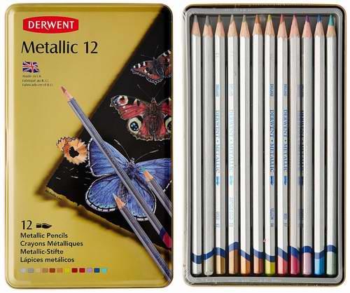 Derwent 得韵 0700456 Metallic 12色金属色水溶色彩色铅笔6折 16.35元限时特卖!