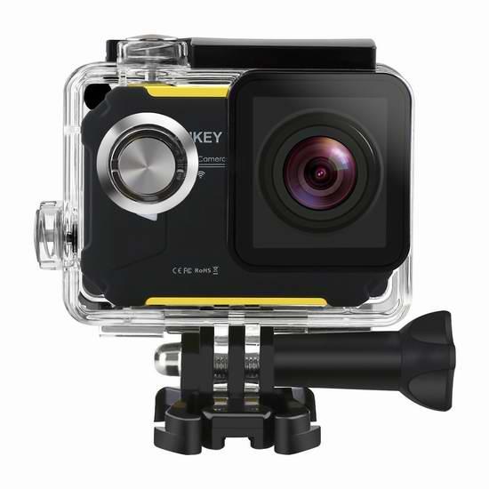历史新低!Aukey HD 1080P Wi-Fi 全高清广角运动摄像机/相机6.1折 69.99元限时特卖并包邮!