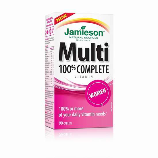 多款 Jamieson 健美生 100% Complete Multivitamin 复合维生素 10.42-10.97元,原价 14.31-16.99元