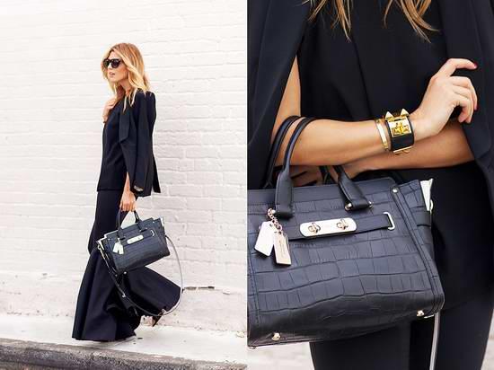 COACH Swagger 女式时尚鳄鱼纹真皮手提/单肩/斜跨包 254.8元限时特卖并包邮!两色可选!