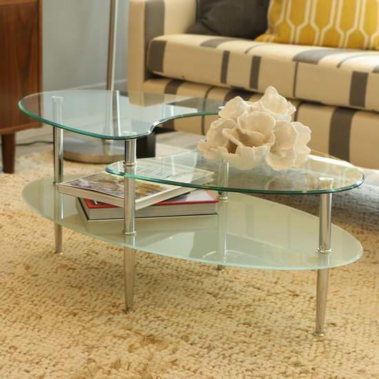 历史新低!Walker Edison Swirl 三层椭圆钢化玻璃茶几5.5折 97.99元限时特卖并包邮!
