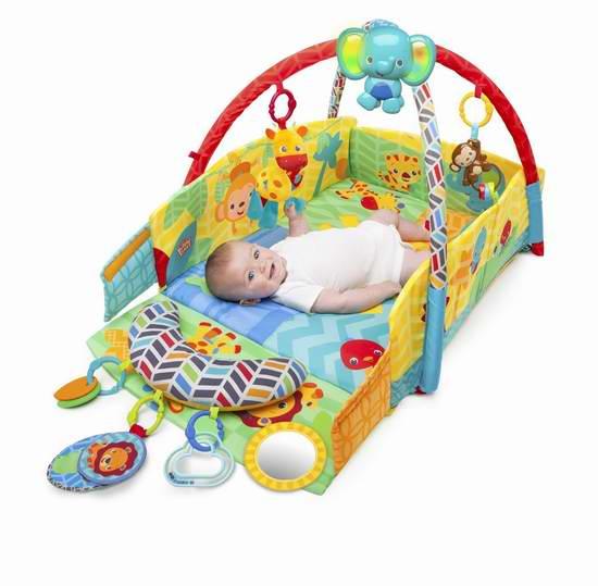 金盒头条:历史新低!BRIGHT STARTS 阳光野生动物园 多功能婴幼儿豪华健力架+游戏垫套装69.99加元限时特卖并包邮!