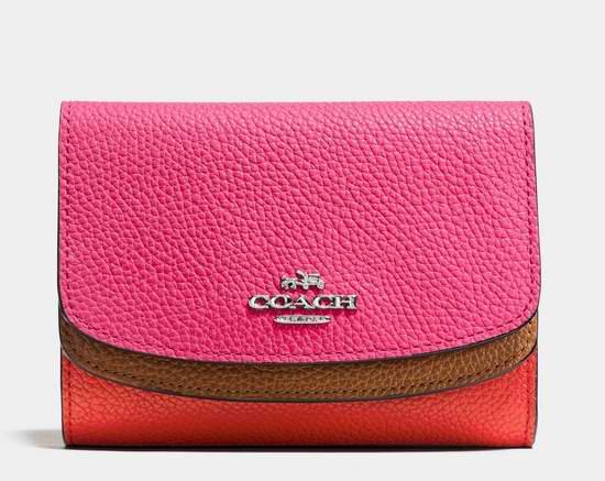 COACH Colourblock 女式中号拼色皮革双盖钱包4.5折 78.75元限时特卖!