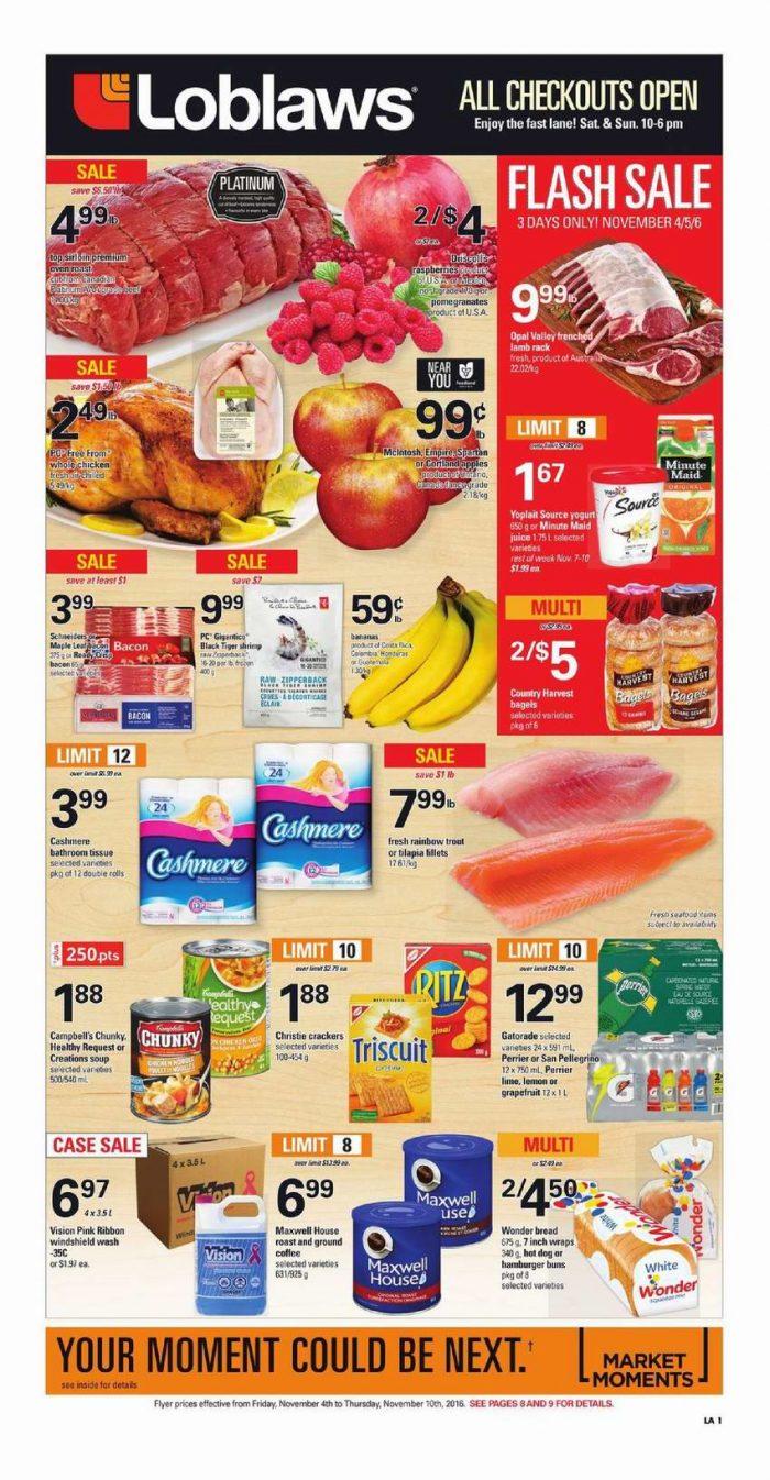 Loblaws超市本周(2016.11.4-2016.11.10)打折海报
