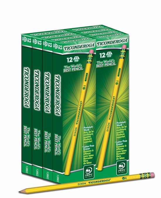 历史新低!Dixon Ticonderoga  带橡皮头天然雪松2HB铅笔96支装5.7折 14.99元限时特卖!