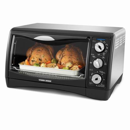 历史新低!BLACK+DECKER 百得 TO1650SC 6 Slice 对流烘焙烤箱5折 44.99元限时特卖并包邮!