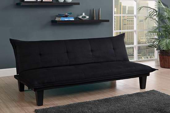 接近史低价!DHP Lodge 黑色超细纤维簇绒布艺沙发床 151.53加元包邮!