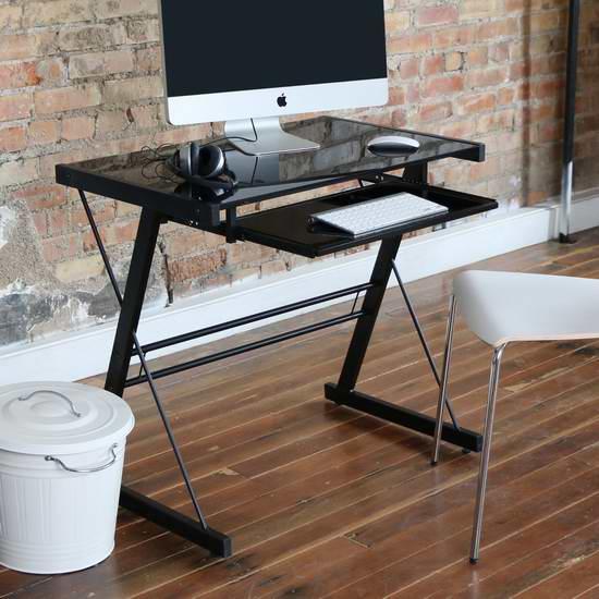 历史最低价!Walker Edison 黑色钢化玻璃 电脑桌4折 79.97加元包邮!