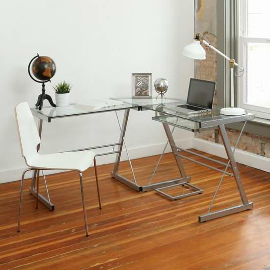 Walker Edison L型时尚钢化玻璃办公桌 立省80元,仅售149元包邮!