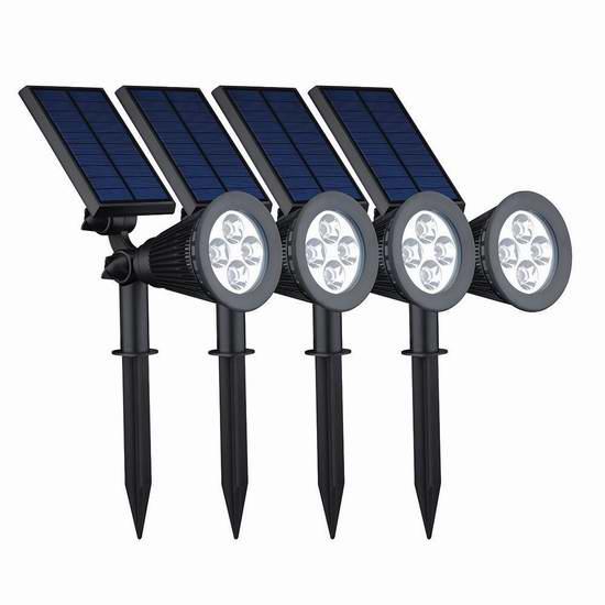 升级版! VicTsing 200流明2合1户外防水太阳能供电LED射灯4件套 59.19元限量特卖并包邮!