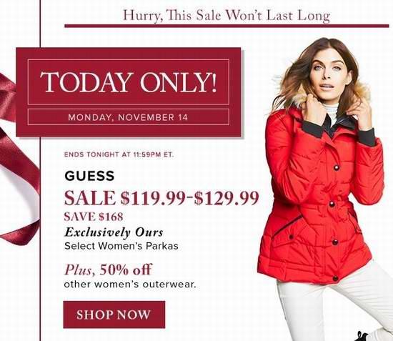 精选多款 Guess 时尚防寒服仅售119.99-129.99元包邮!另有180款 Calvin Klein、French Connection 等品牌女式长款防寒服全部5折限时特卖!