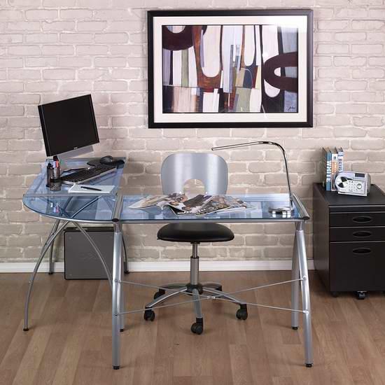 历史新低!Studio Designs Calico Designs 50310 L型钢化玻璃办公桌5.1折 158.18元限时特卖并包邮!