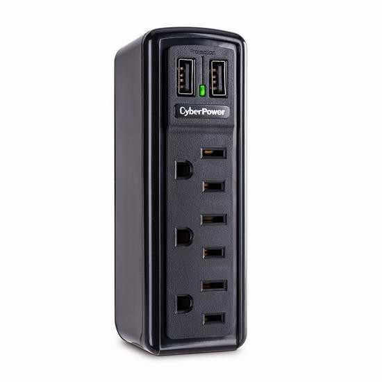 历史新低!CyberPower TRVL918 电涌保护旅行3口插座4.5折 9.99元限时特卖!