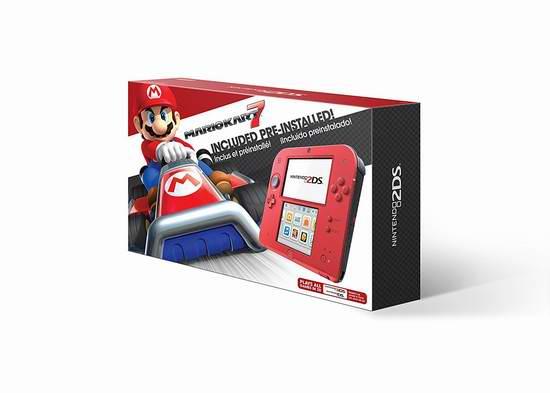 历史最低价!Nintendo 任天堂 2DS 游戏机 99.99元限时特卖并包邮!预装《马里奥赛车7》!两色可选!