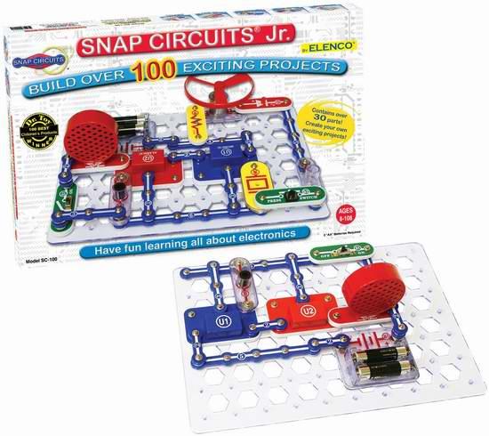 動手玩科學!Elenco Snap Circuits Jr. SC-100 電路DIY拼接玩具 29.12加元限時特賣並包郵!