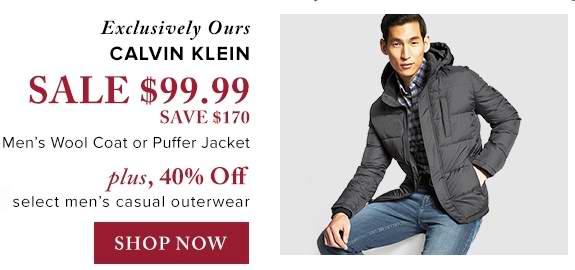精选281款 Calvin Klein、Levi's 等品牌男式时尚防寒服、呢子大衣等3.7折起限时特卖!图示款仅售99.99元包邮!